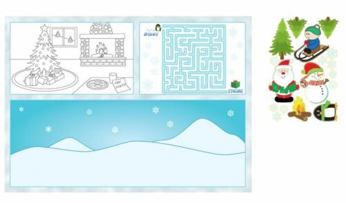 Christmas Winter Party 8 pc Fun Kids Placemat Activity Kit Stickers
