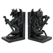 Dragon With Sword Bookends Figurine Handpainted Resin - £31.37 GBP