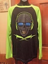 SKULL head phones black graphic neon green long sleeve sleep top size XL 16 NEW - $10.99