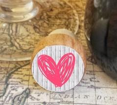 Wine Stopper, Pink Handrawn Heart Handmade Wood Bottle Stopper, Valentin... - $8.86