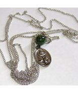"""medalion pendant w/jade bead on 60"""" chain necklace - $20.00"""