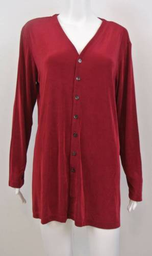 "Primary image for CHICO'S TRAVELERS Cranberry Red Button Front Slinky Jacket 2 M L 42"" bst"