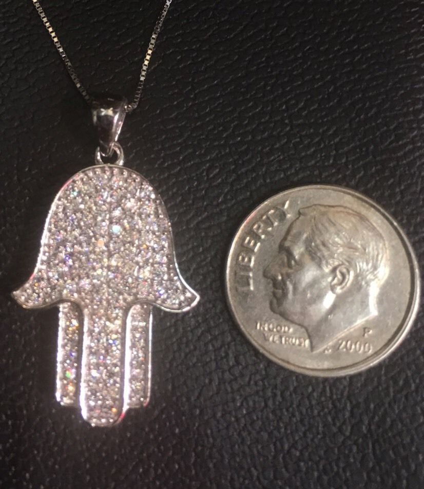 14K Gold Layer On Solid Silver Swarovski Crystal Hamsa Hand Charm Free Chain image 4