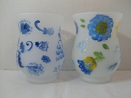 Lot of 2 Hallmark Hurricane Candle Holders Set Votive Blue Yellow Pre-owned - €12,47 EUR