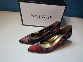NIB Nine West Classic Pump Floral Fabric 060 and 065 M Red Multi CUTE! - $23.09