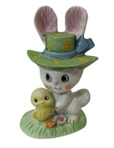 Lefton Bisque Easter Bunny Rabbit & Baby Chick Figurine Red Foil 7781 Taiwan - $22.76