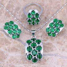 Green  Cubic Zirconia Silver Jewelry Sets Earrings Pendant Ring For Wome... - $18.43