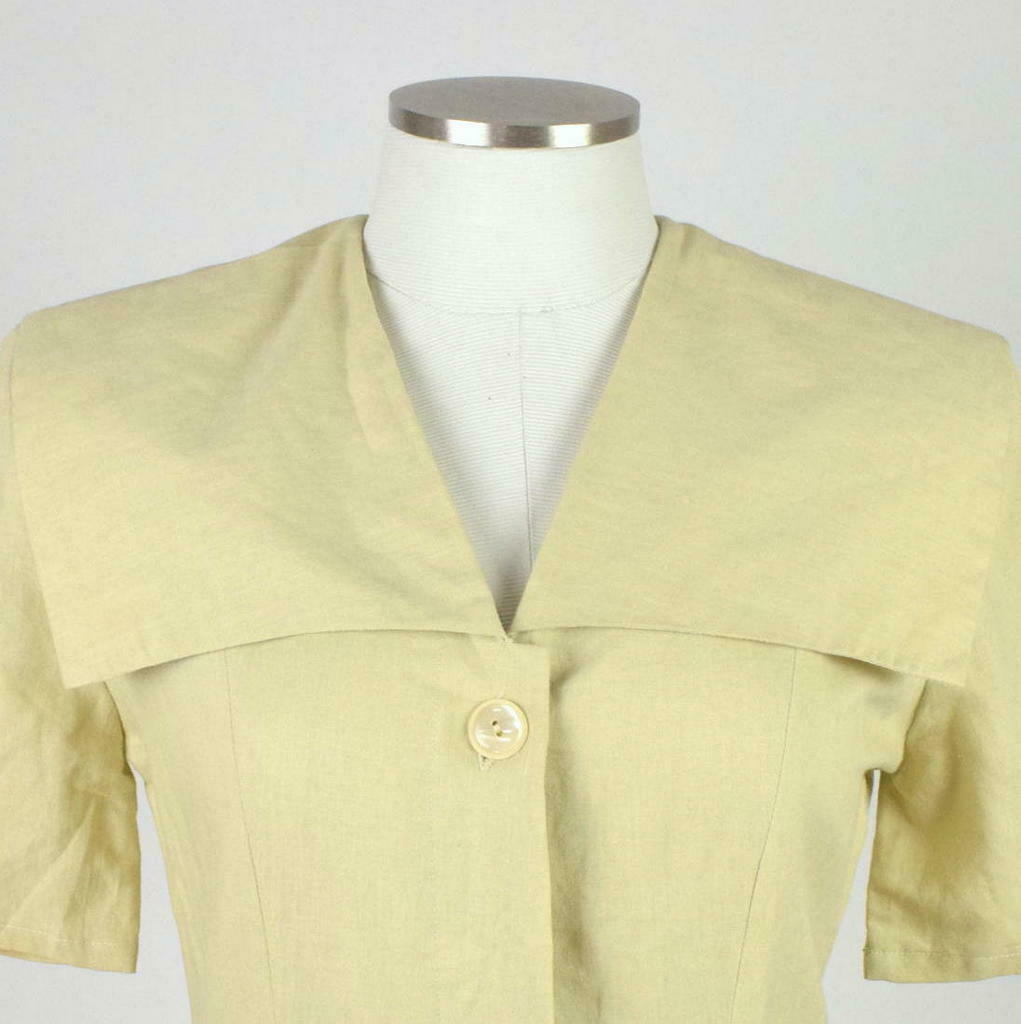 Vintage 80s Beige Cream Maxi Dress Cracker Jack Collar Short Sleeve Retro Size M image 5