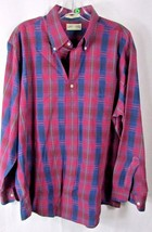 Saddlebred XL men's casual button front plaid red green blue shirt - $9.89