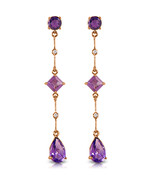 14K Solid Rose Gold Chandelier Earrings with Diamonds & Amethysts - $176.02
