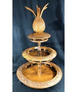 Hand Carved Monkey Pod Wood, Lazy Susan, 3 Tiers, Phillipines, Circa ear... - $107.77