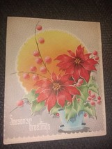 Red Poinsettias Vintage Christmas Card - $3.00