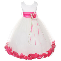 White Satin Bodice Layers Tulle Skirt Fuchsia Flower Ribbon Brooch and Petals - $48.00