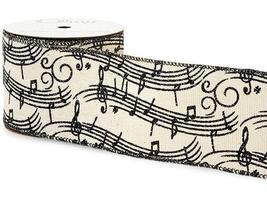 "Music Notes Christmas Wired Craft Ribbon, Polyester 2.5"" x 10 Yard Spool  - $12.00"