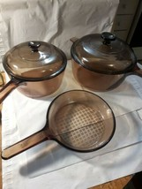 5 pc Vtg Pyrex Vision Ware Amber (1.5L, 2.5L, waffle bottom saucepan and lids) - $43.56