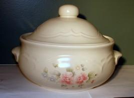 Pfaltzgraff Tea Rose Stoneware 2 qt Round Handled Casserole Dish With Lid #315 - $23.75