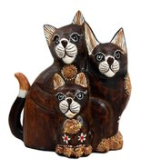 "Balikraft Hand Made Wood Artisans ""Kucing Jawa"" Feline Cat Family Decora... - $28.99"