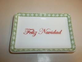 Charter Club FELIZ NAVIDAD Ceramic Tray NEW Christmas Macys Holiday Lane - $34.65