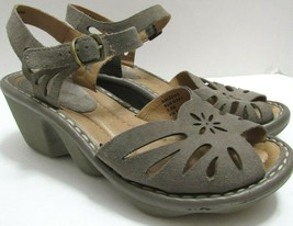 Earth Solstice Womens 7.5  Ash Grey Suede Leather Wedge Comfort Sandals Shoes - $44.54