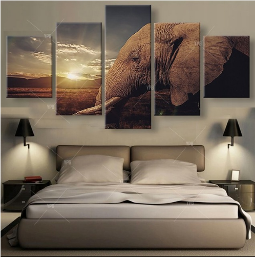 5 Pcs African Elephant Sunset Canvas Prints Painting Wall Art Picture Home Decor for sale  USA