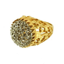 VINTAGE 60'S FAB HUGE PAVE PASTE RHINESTONE DOME ORGANIC COCKTAIL RING S... - $129.59
