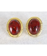 Red Stone Earrings with Outer Gold Color Smooth & Ribbed Pattern - $12.86