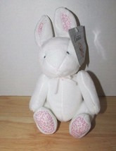 Carters Plush White pink flower ears feet Bunny Rabbit Rattle baby toy w... - $14.84