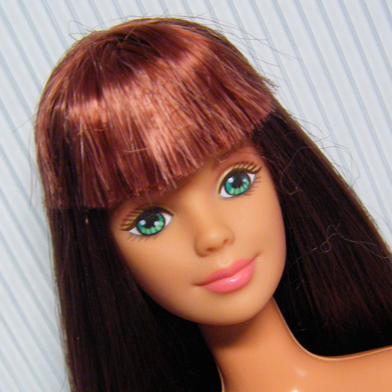 Primary image for Mackie Face Barbie Long Hair Brunette w Dark Copper for OOAK Display or Play