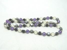 VTG Silver Tone Purple Clear Glass Hematite Beaded Necklace Choker - $9.90