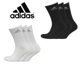 Mens adidas 3 Stripe Performance Cushioned Crew Socks (3 Pack) - $12.70