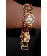 VIntage chinese bracelet - Oriental enamel bracelet - Asian jewelry - or... - $95.00
