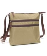 "Charlie Bravo Sand XBody 2 Zipper Crossbody Bag 9.5""x10"" Zips Closed Lig... - $22.95"