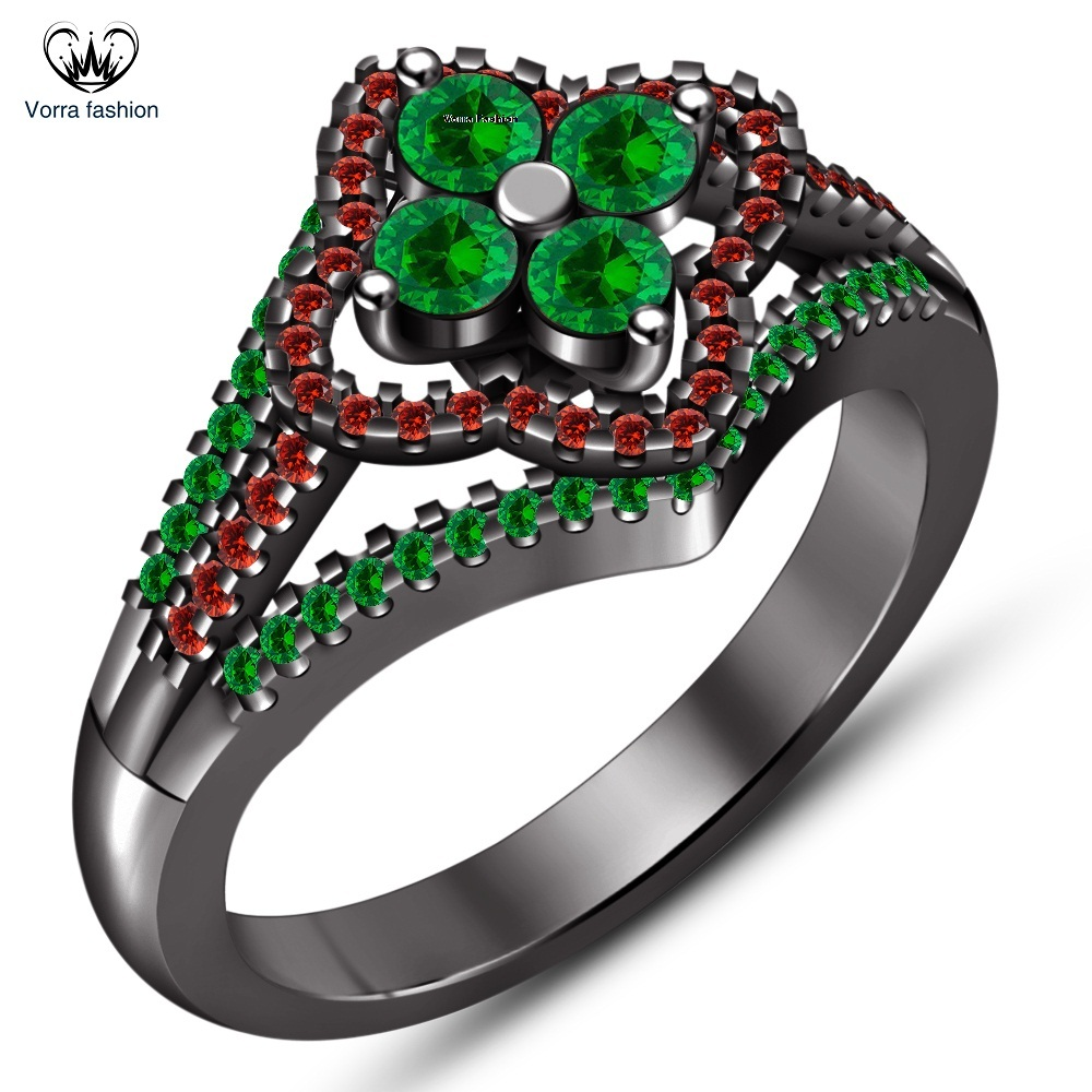 Primary image for Round Cut Green Sapphire Black Gold Finish 925 Silver Engagement Wedding Ring