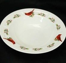 "Gibson Cardinal Winter Bird Xmas Rim Soup Bowl 8.25""   - $14.69"