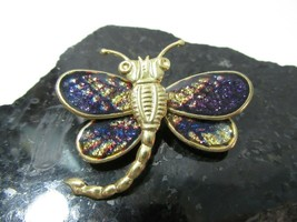 PLASTIC VINTAGE DRAGONFLY PIN INSECT PURPLE GLITTERY COLORING FIGURAL - $18.00