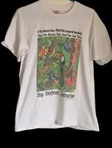 Vintage Stop Rainforest Destruction Mens Graphic T-Shirt White Crew L - $39.59