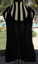 Macrame Lace Split Back Sleeveless Black Mossimo Sheer Tank Top Sz. M 38... - $15.83