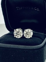 Tiffany&Co Diamond Solitaire Stud Earrings 4.63Tcw in Platinum GIA Certificates  - $135,240.00