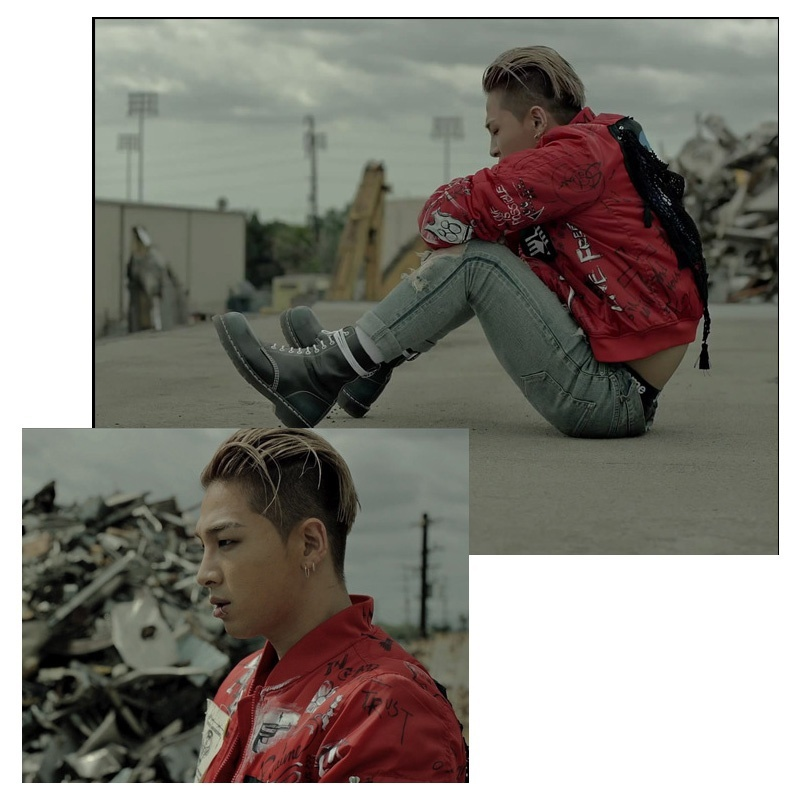 Bigbang TaeYang Red collar baseball jersey Sweater loose coat men and women Can