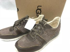 Ugg Australia Deaven Mouse Gold Suede Lace Up Shoes Tennis Sneakers 1019655 image 10