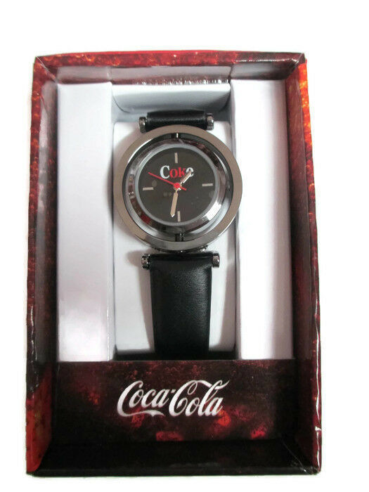 Coca-Cola Accutime Spinner Watch 22 MM Black Vinyl Band - BRAND NEW