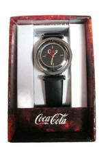 Coca-Cola Accutime Spinner Watch 22 MM Black Vinyl Band - BRAND NEW image 1