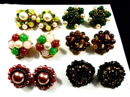 Lot of 6 Hong Kong & Japan Signed Beaded Cluster Glass Pearl clip on earrings  - $51.48