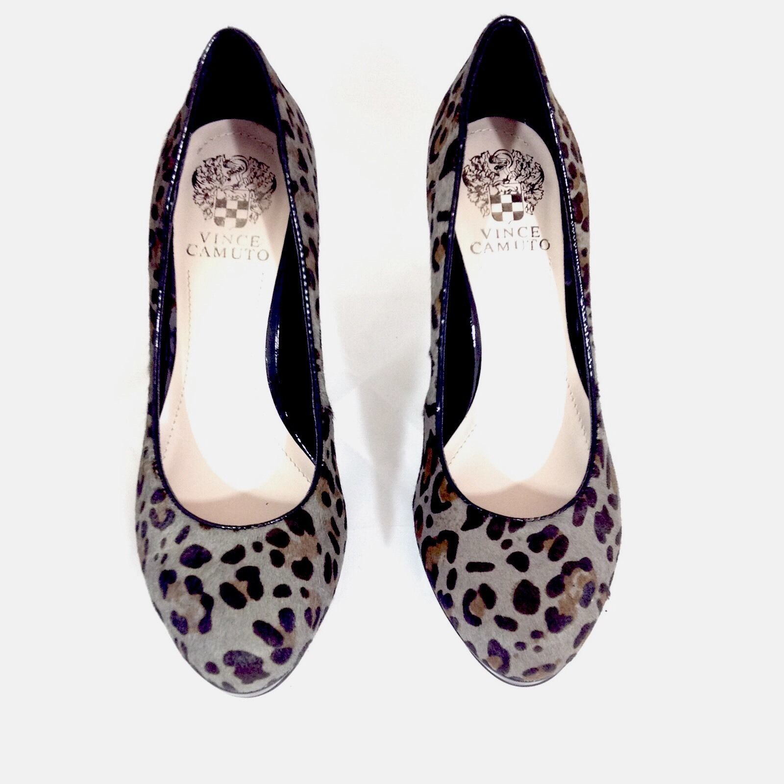4465fe892b5 NEW Vince Camuto Size 7.5 Calf Hair Leopard Gray Brown Black Leather Pumps  Heels