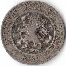 A very fine 1861 Ten Centimes coin from Belgium... - $12.80
