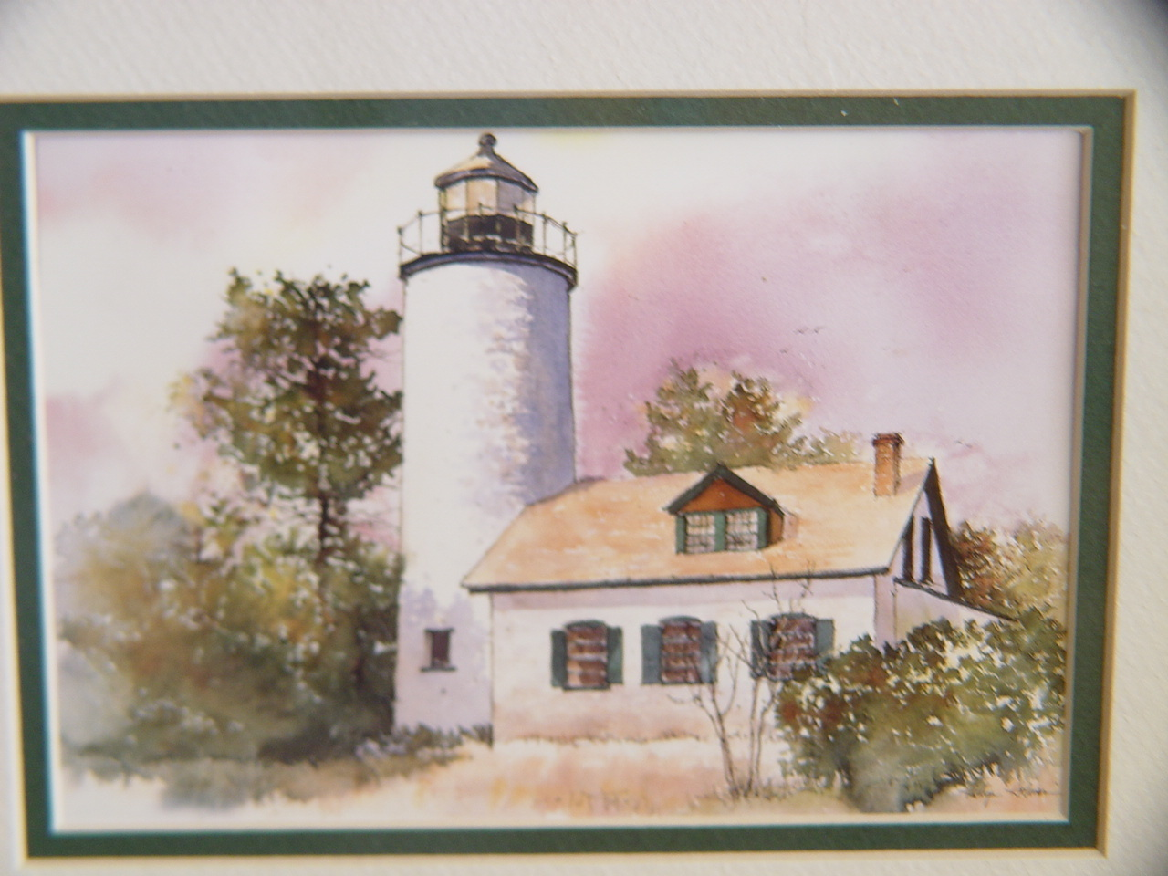 Lighthouse Watercolor Print (5 x7) by Karlyn Holman Framed