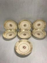 7 bowls Vintage Porcelain Encrusted 22K-Gold 8 inch Mid century soup salad - $21.77