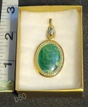 Vtg SARAH COVENTRY Gold Tone green Accent Pendant SIGNED b50 - $7.41