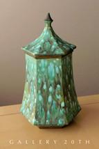 ART NOUVEAU STYLE!  BLUE GREEN GLAZE POTTERY! PORCELAIN CONTAINER VASE POT - $900.00