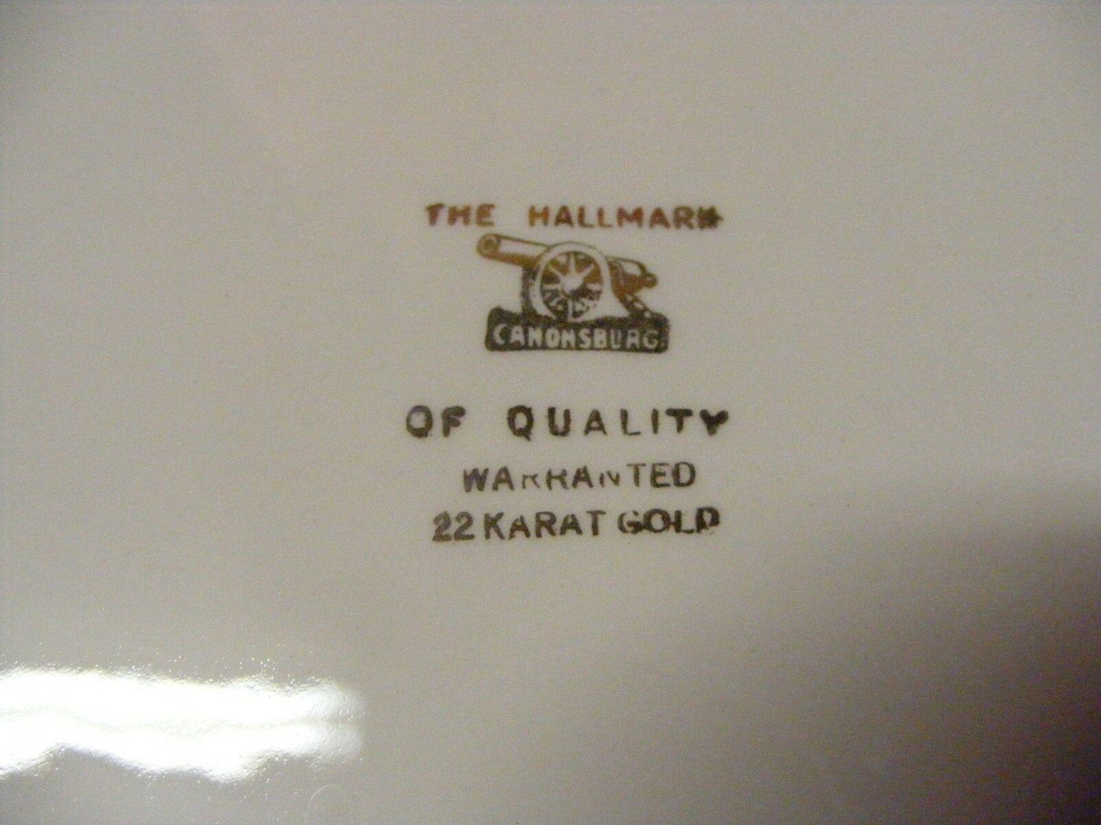 Canonsburg Moss Rose Cream Pitcher  22 K  Brushed Gold Trim